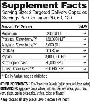 Enzymedica Repair Gold Nutrition Facts